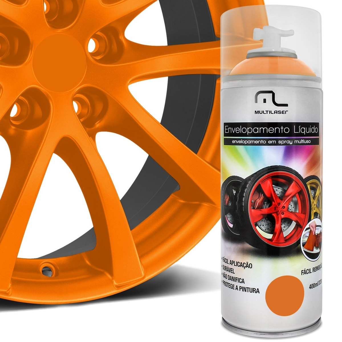 Spray de Envelopamento Liquido Automotivo Carro Laranja Fluorescente (AU426)