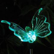 Lumin�ria Solar para Jardim em PVC Borboleta 1379 2 Pe�as