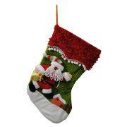 Bota de Natal em Tecido com Papai Noel 1447 60cm de Altura