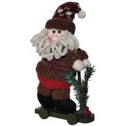 Papai Noel de Luxo Pel�cia com Patinete com 31cm de Altura CBRN0487