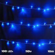 Pisca Pisca 100 LEDs 10m Azul 110v 4 Fases Fio Transparente 1040
