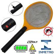 Raquete Mata Mosquito, Mosca e Inseto El�trica Recarreg�vel Bi-volt Amarelo CBRN0760