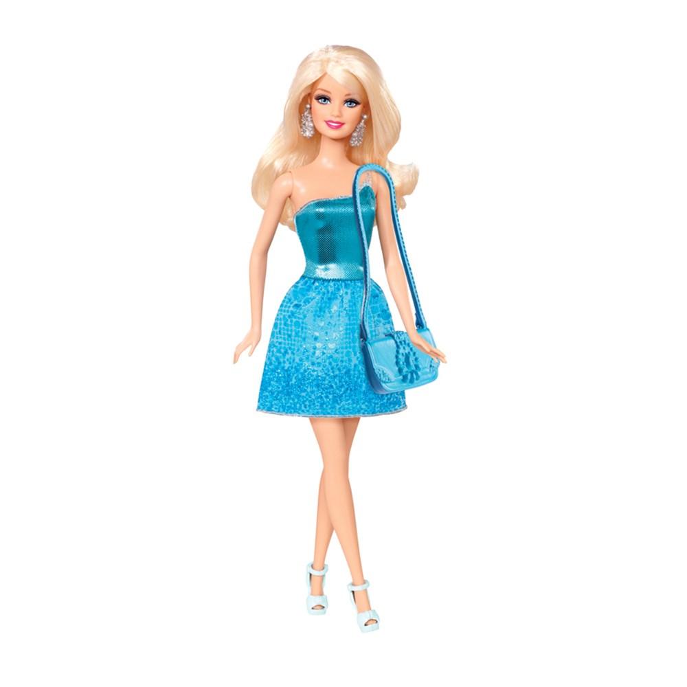 Boneca Barbie B�sica Glitz Vestido Azul - Mattel