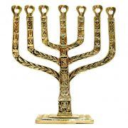 Candelabro Menorah Judaico 7  Velas Israel - Bronze Maci�o