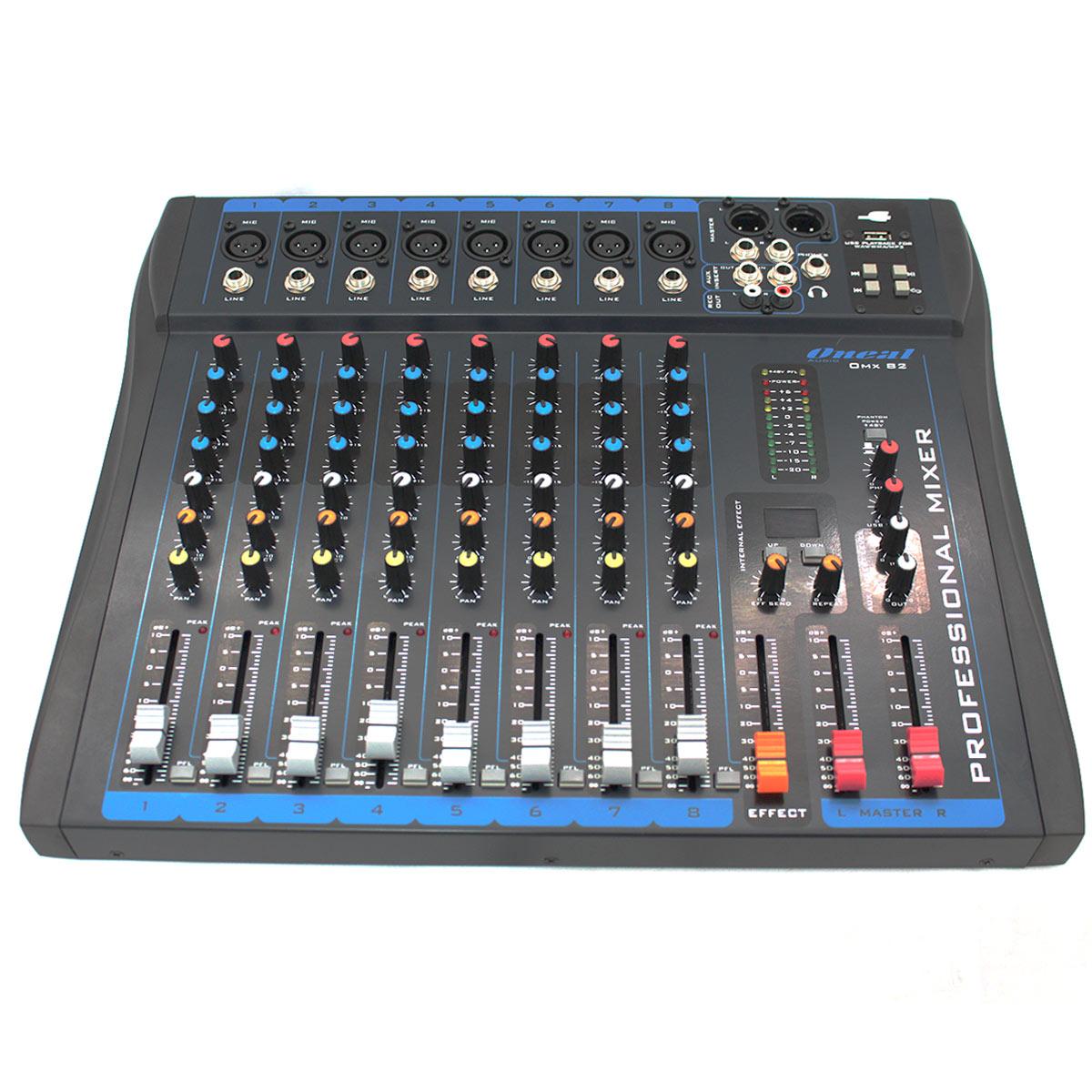 OMX82 - Mesa de Som / Mixer 8 Canais c/ USB OMX 82 - Oneal