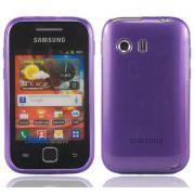 Capa TPU Premium + Pel�cula protetora para Samsung Galaxy Y GT-S5360 - Cor Lil�s