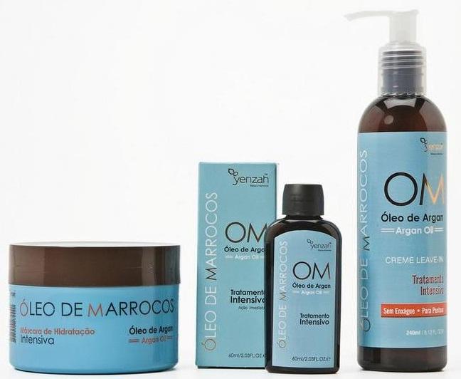 Óleo de Marrocos - Kit Hidratação Intensiva Argan Oil - Máscara 300gr, Creme Leave in 240ml e Óleo 60ml- Yenzah