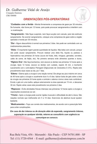 Orienta��es P�s-Operat�rias - Ref. 3307