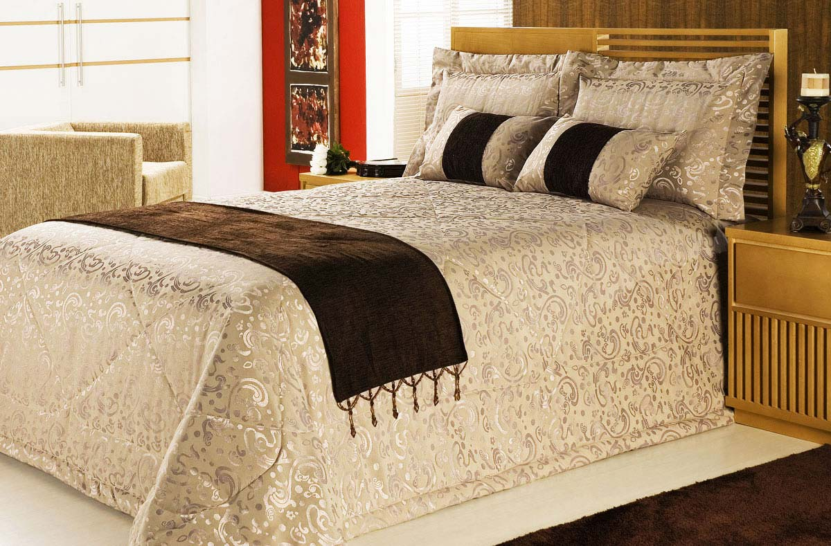 Cobre Leito Casal Box, Queen Box e King com 07 pe�as 100% Poliester Jacquard - CobreLeito Murano