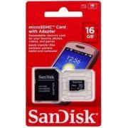 Cart�o De Memoria Original Sandisk Microsd 16gb + Adaptador