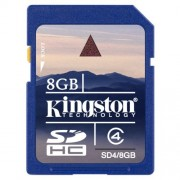 Cart�o de Mem�ria 8GB SD Classe 4 Kingston SD4/8GB