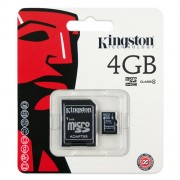Carto de Memria 4GB Micro SD com Adaptador SD / Classe 4 Kingston SDC4/4GB