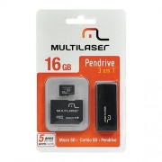 KIT Micro SD + Adaptador + PEN Drive 16GB Multilaser MC059