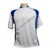 Fardamento - Jogo de Camisa modelo Su�cia com 14 Branco/Royal - PlayFair - Frete Gr�tis Brasil + Brindes