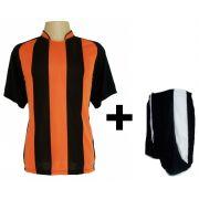 Uniforme Esportivo - Jogo de Camisa modelo Milan Preto/Laranja + Cal��o modelo Copa Preto/Branco com 12 pe�as - Frete Gr�tis Brasil + Brindes