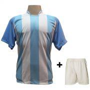 Uniforme Completo modelo Milan Celeste/Branco 18+2 (18 camisas + 18 cal��es + 20 pares de mei�es + 2 conjuntos de goleiro) - Frete Gr�tis Brasil + Brindes