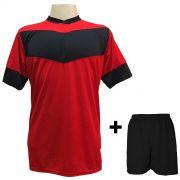 Jogo de Camisa modelo Columbus Vermelho/Preto + Cal��o Preto com 18 unidades - Frete Gr�tis Brasil + Brindes