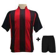 Fardamento - Jogo de Camisa modelo Milan Preto/Vermelho + Cal��o Preto com 12 pe�as - Frete Gr�tis Brasil + Brindes