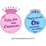 Adesivo Dia das Crian�as Principe e Princesa - D306