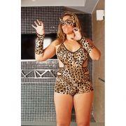 Macaquinho Tigresa - Plus Size - Acompanha M�scara e Luvas - Refer�ncia 51329/0100