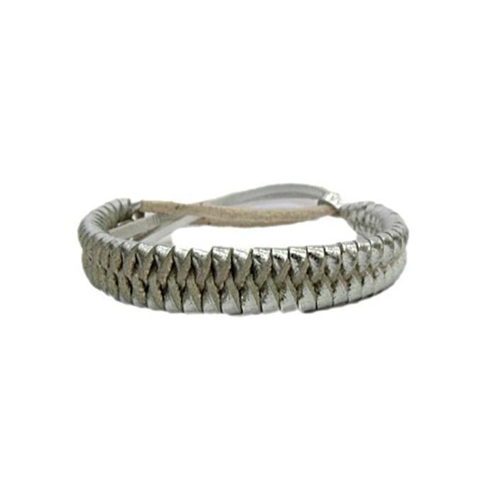 Pulseira de couro tran�ado prata- PUL014
