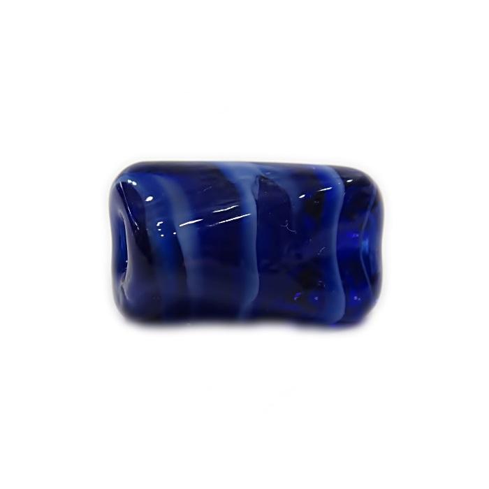 Facetado de murano G azul�o/ branco -MU540