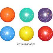Bola de Vinil Confete 23 cm - Kit com 10