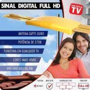 Antena Capte Ouro Amplificada 4em1 Vhf Uhf Digital Hdtv E Fm