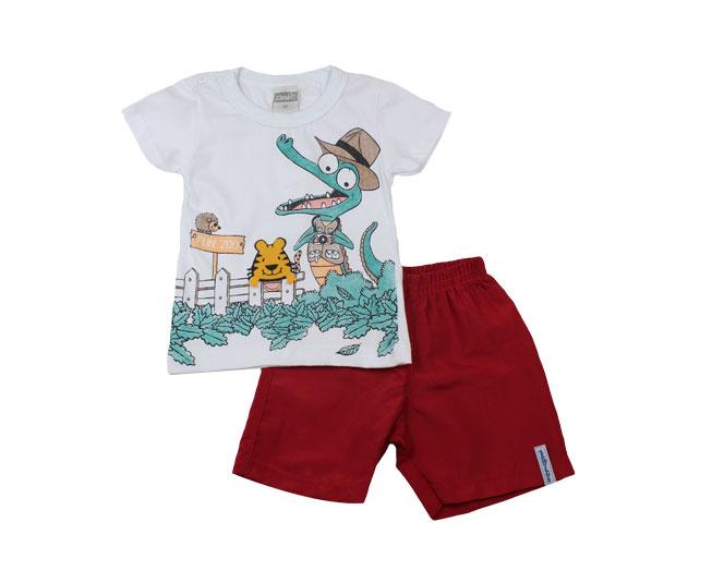 Conjunto infantil masculino brandili branco / vermelho