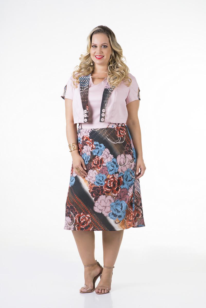 1674-Vestido evas� crepe c/ bolero cotton