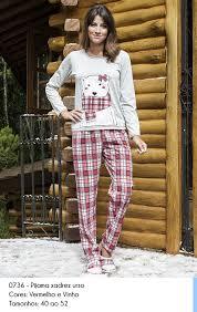 Pijama 0736 xadez urso fem.