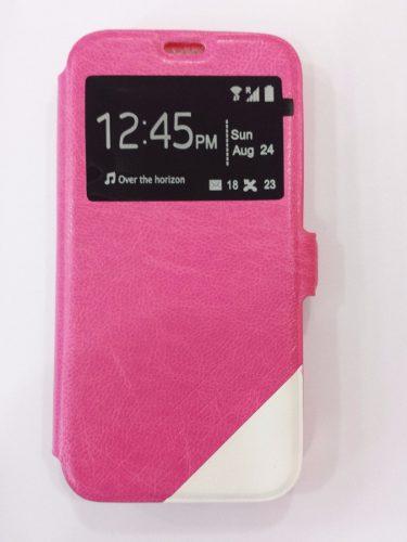 Capa Samsung Galaxy S5 Mini Couro Sintético Magnética Visor Tela Rosa