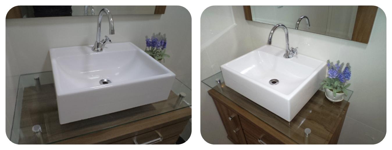 Pia De Sobrepor Moderna Lavatório Para Banheiro E Lavabo  R$ 124,90 em Merca -> Cuba De Apoio Para Banheiro Produza Catalunha Cristal