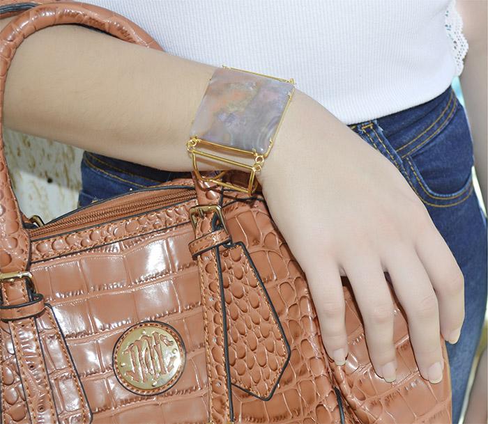 bracelete de jaspe rosa natural