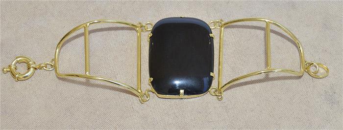 bracelete retangular de agata preta