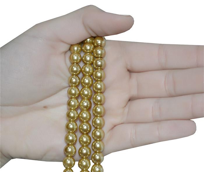 fio de pérola de vidro dourada