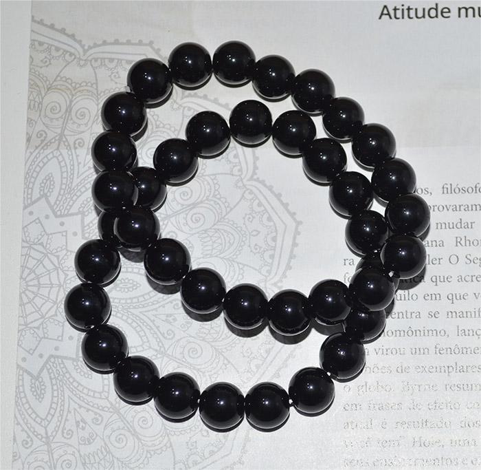 pulseira de pedra agata preta