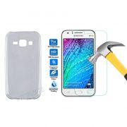Kit Pelicula de Vidro + Capa de TPU Ultra Fino Slim para Samsung Galaxy J1 - Cor Transparente