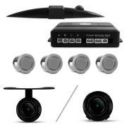 Kit Sensor de Estacionamento 4 Pontos Prata + C�mera de R� Parachoque ou Borboleta Universal Preta
