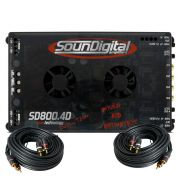 Modulo Amplificador Soundigital Evolution Sd800.4D Evo 4 + Cabo Rca