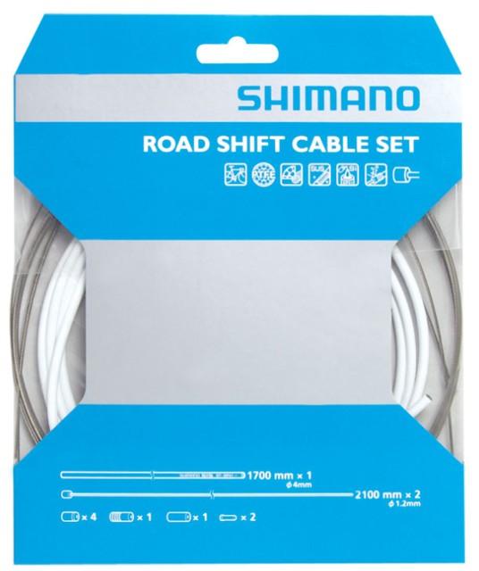 Conjunto de Cabos e Conduites Brancos PTFE Shimano Road