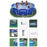 Piscina Intex 4485 L com Bomba Filtrante 110v + Capa + Forro + Kit de Limpeza + Escada