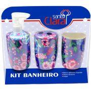 Kit Estampado Floral Lil�s Para Banherio Com 03 Pe�as - Santa Clara