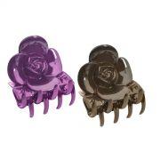 Piranha Pl�stica Para Cabelos Formato de Rosa Com 2 Unidades - Santa Clara
