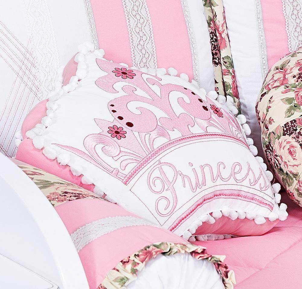 Almofada Decorativa Coroa Tamanho Irregular - Cole��o Princess - 100% Algod�o - Rosa