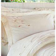 Roupa de Cama / Len�ol Giardini Queen em Percal Algod�o 230 fios - Acetinado cor Palha com 4 pe�as