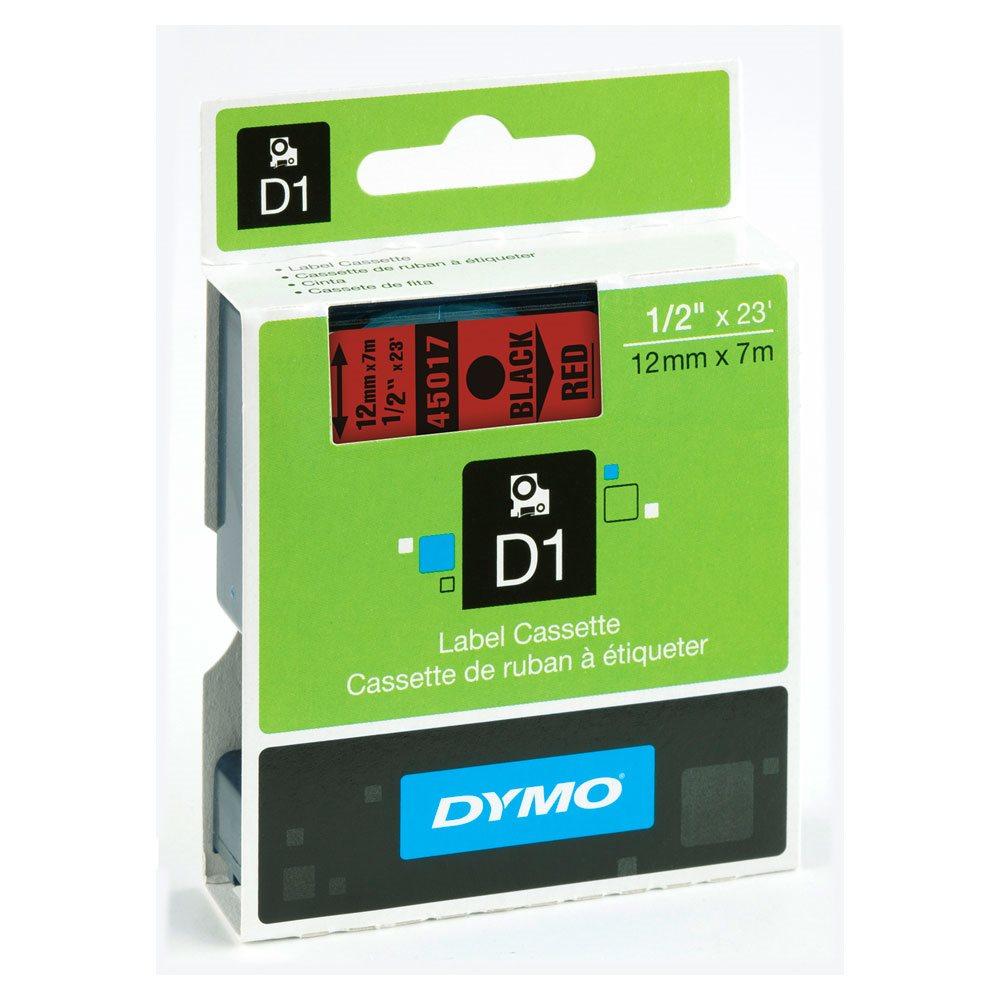 Fita D1 Poliéster Dymo 12mm - Preto sobre Vermelho ( 45017 )