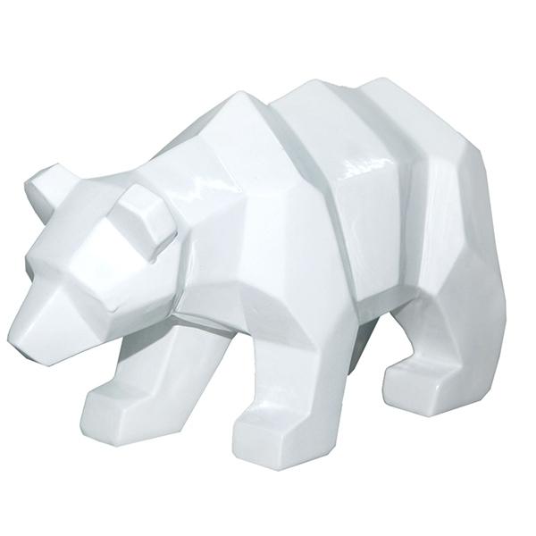 Urso Decorativo Resina Walking Bear Branco