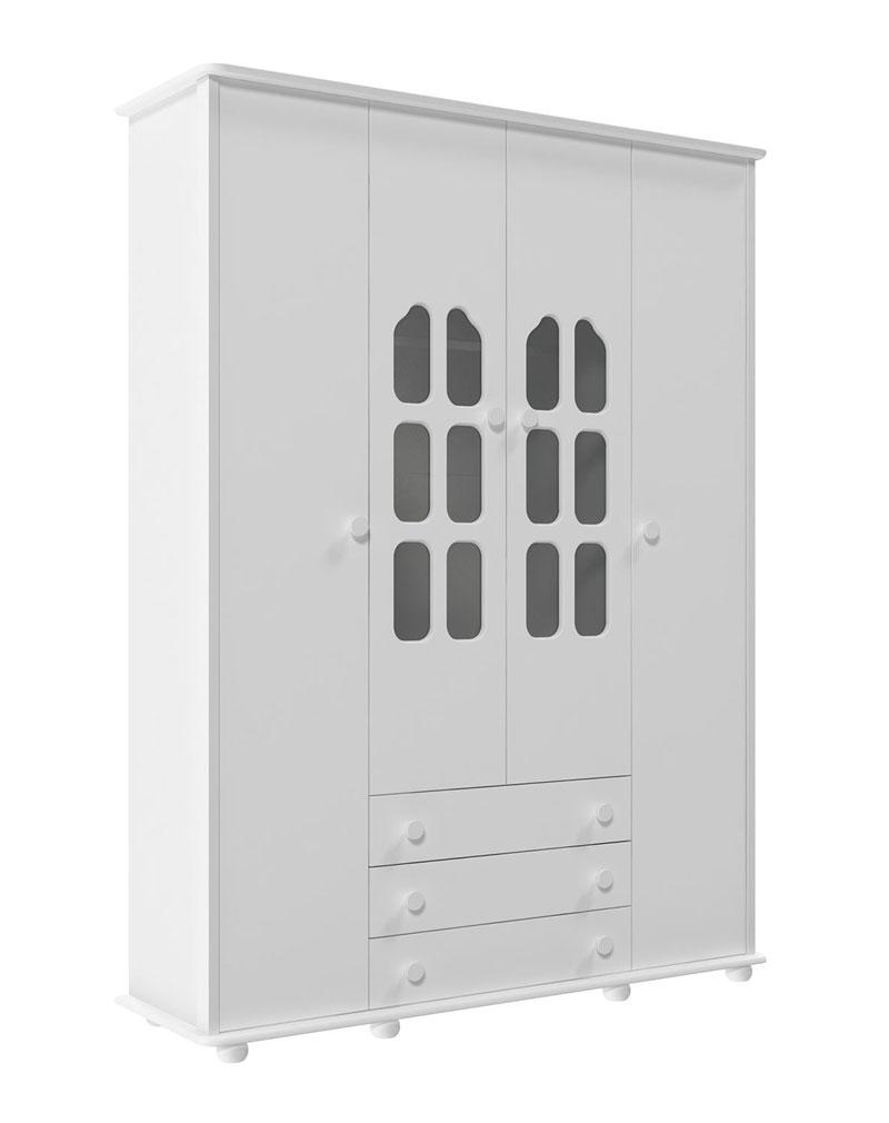 Guarda-Roupa Amore 4 Portas Branco Brilho - Matic M�veis