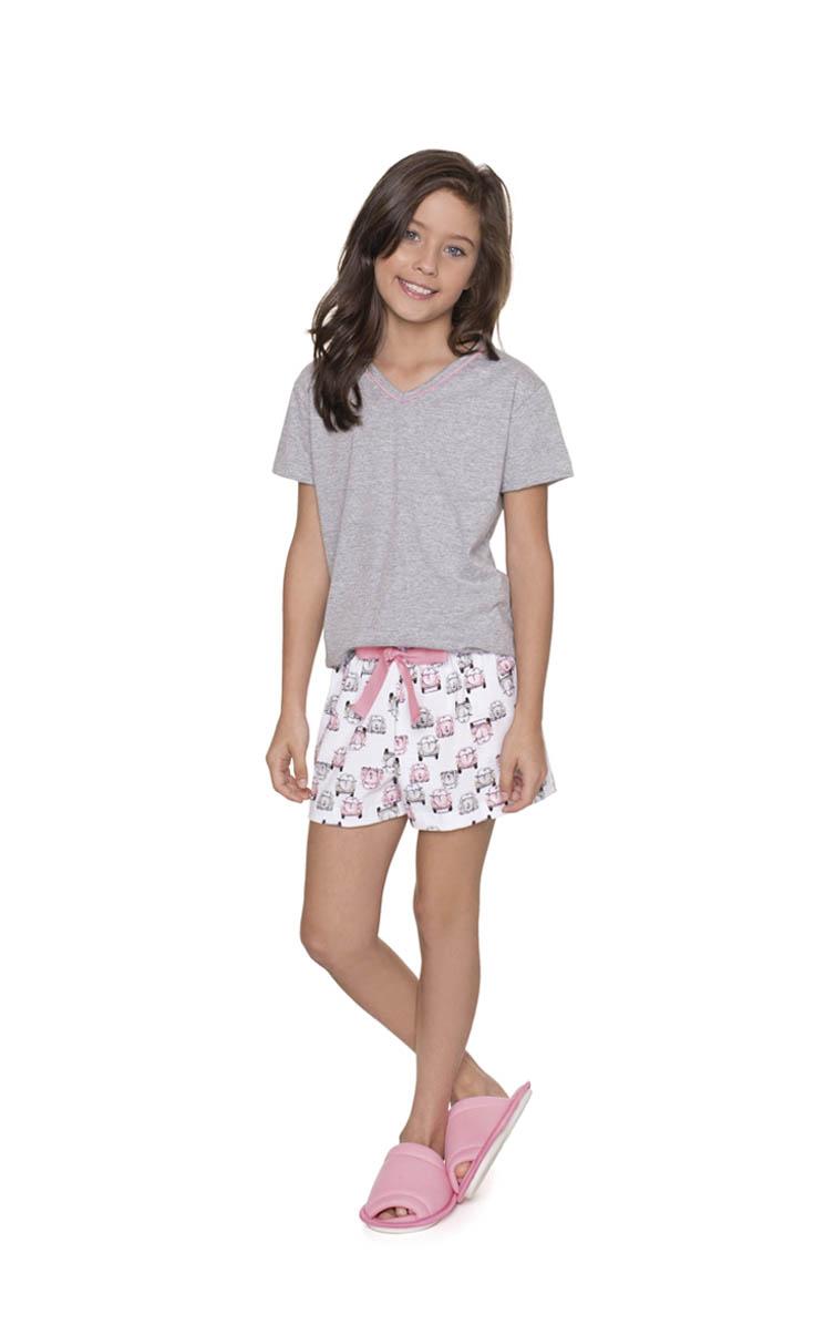 Pijama Feminino Infantil Lua Encantada Short doll Fusquinha Rosa